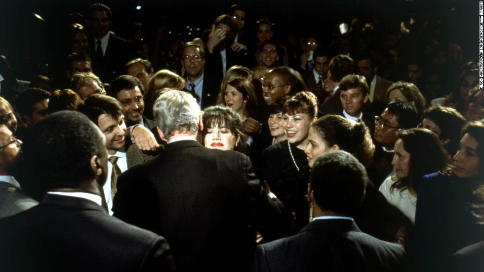 White House intern Monica Lewinsky embraces President Clinton at a Democratic fund-raiser in Washington on October 23, 1996.