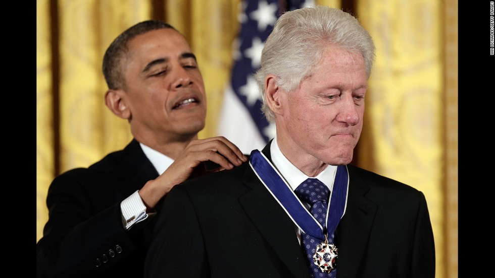 President Obama awards Clinton the Presidential Medal of Freedom in the East Room of the White House on November 20, 2013. The medal is considered the nation's highest civilian honor, presented to individuals who have made meritorious contributions to the security or national interests of the United States, to world peace, or to cultural or other significant public or private endeavors.