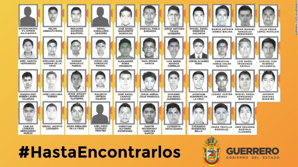 Forty-three students remain missing after armed men ambushed buses carrying students in southern Mexico on on September 26 .The Mexican state of Guerrero posted images and offered a reward of 1 million pesos ($74,000) for information leading to the missing students. Images of three missing students were not available.