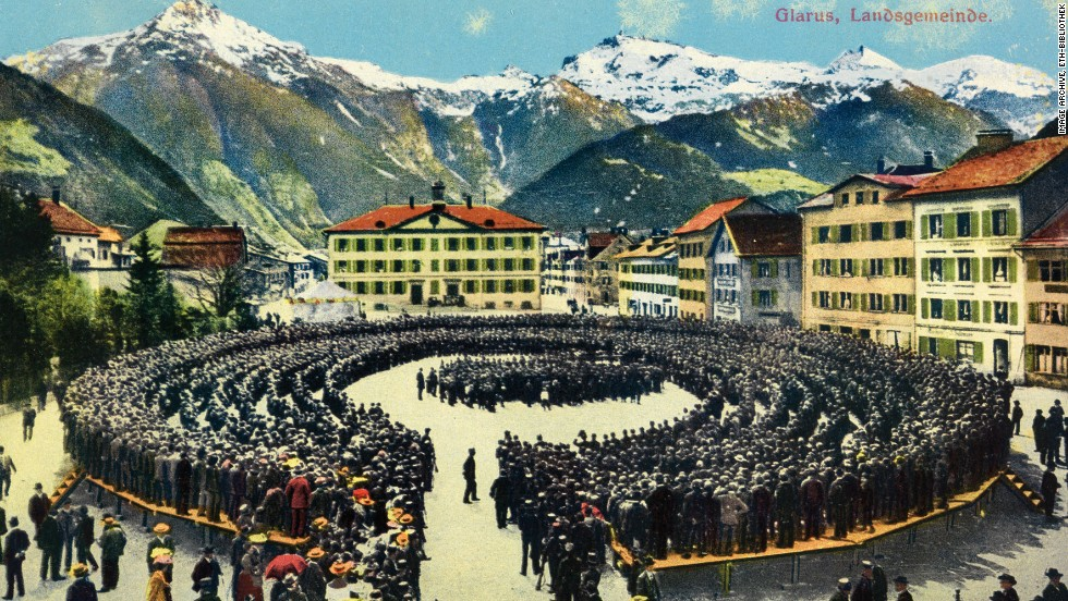 Many of Feller's postcards depicted scenes from around his homeland, like this photograph of a crowd in the Swiss town of Glarus.