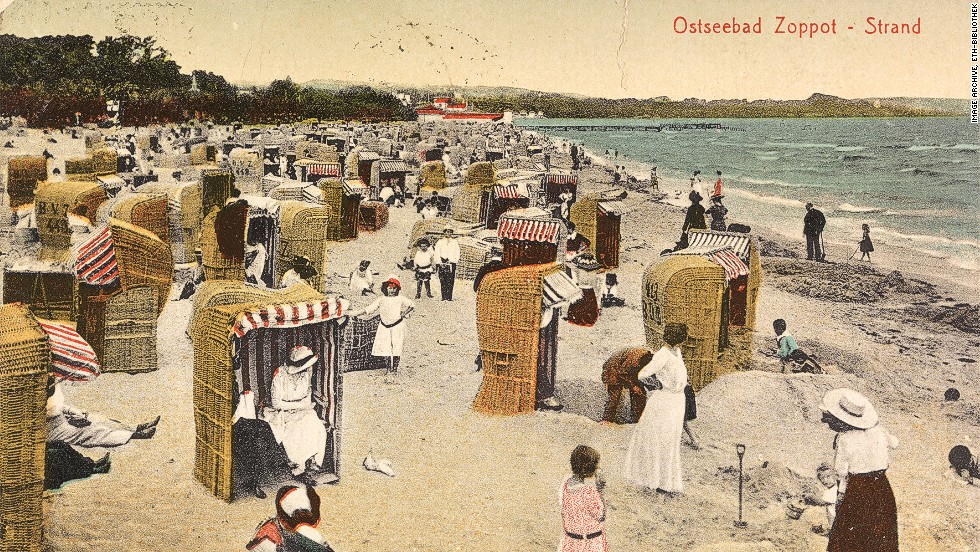 This genteel beach scene depicts a resort near the Polish city of Gdansk. The postcard is date stamped January 28,1923.