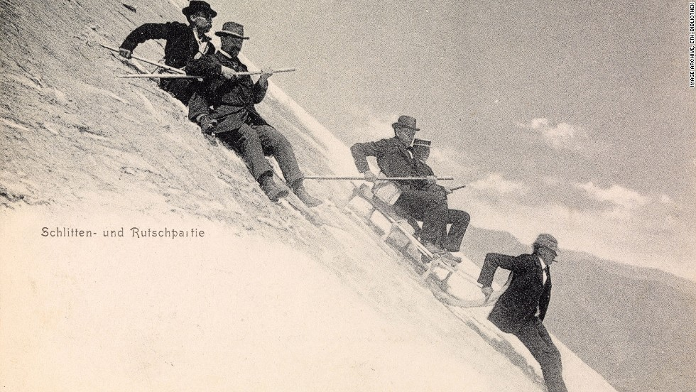 """This postcard dated 1907 is simply titled """"sledging."""""""