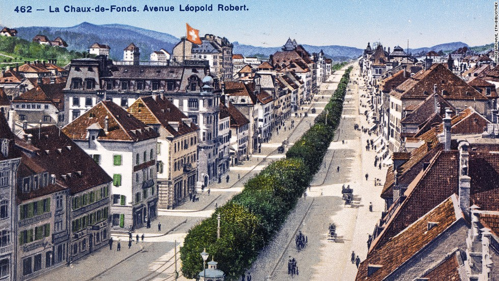 A 1919 scene from the lakeside Swiss town of Neuchatel.