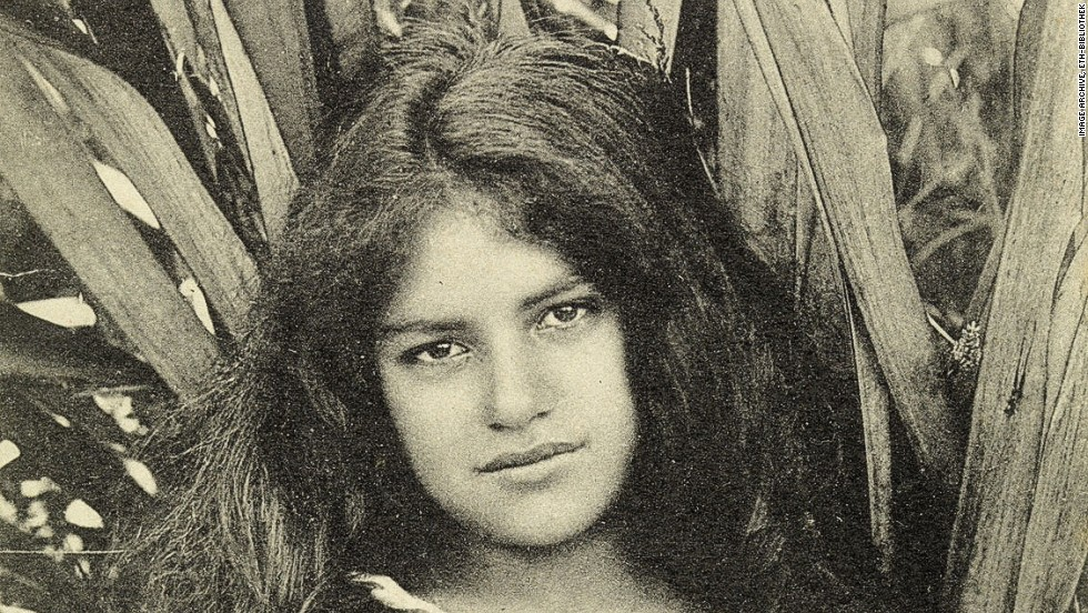 """This card postmarked 1906 depicts a """"Maori beauty"""" from the New Zealand town of Dunedin."""