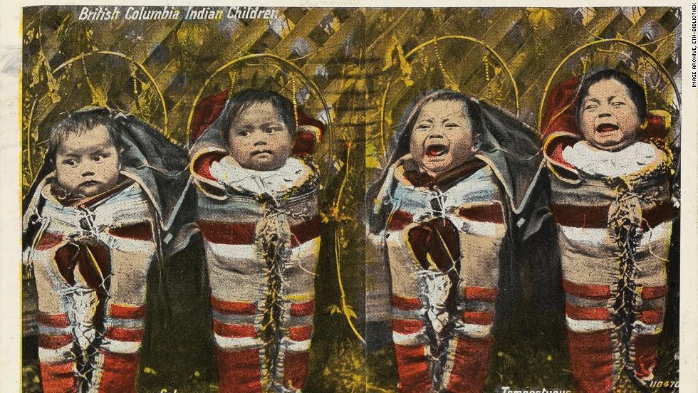 """Subtitled """"calm/tempestuous"""" this card shows a quartet of aboriginal babies in British Columbia, Canada, in 1921."""