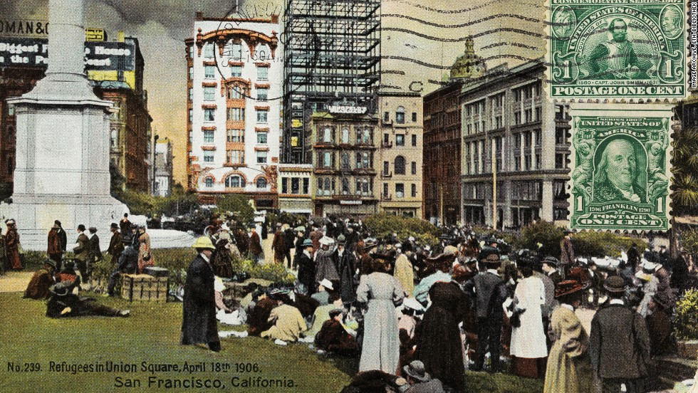 """Not all vintage postcards displayed picture """"postcard"""" scenes. This one from 1906 shows refugees gathered in San Francisco's Union Square."""