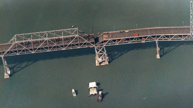 A collapsed portion of the San Francisco-Oakland Bay Bridge is seen on October 22.