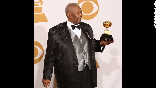 """LOS ANGELES, CA - FEBRUARY 08:  Musician B.B. King, winner of the Best Traditional Blues Album for """"One Kind Flavor"""" poses in the press room during the 51st Annual Grammy Awards held at the Staples Center on February 8, 2009 in Los Angeles, California.  (Photo by ) *** Local Caption *** B.B. King"""