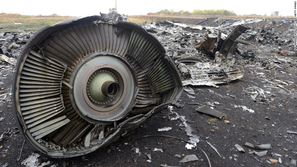 Debris from Malaysia Airlines Flight 17 sits in a field at the crash site in Hrabove, Ukraine, on September 9, 2014. The Boeing 777 was shot down July 17, 2014, over Ukrainian territory controlled by pro-Russian separatists. All 298 people on board were killed. In an October 2015 report, Dutch investigators found the flight was shot down by a warhead that fit a Buk rocket, referring to Russian technology, Dutch Safety Board Chairman Tjibbe Joustra said.