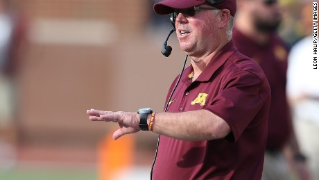 Caption:ANN ARBOR, MI - SEPTEMBER 27: Minnesota Golden Gophers head football coach Jerry Kill watches the action during the fourth quarter of the game against the Michigan Wolverines at Michigan Stadium on September 27, 2014 in Ann Arbor, Michigan. The Golden Gophers defeated the Wolvereines 30-14. (Photo by Leon Halip/Getty Images)