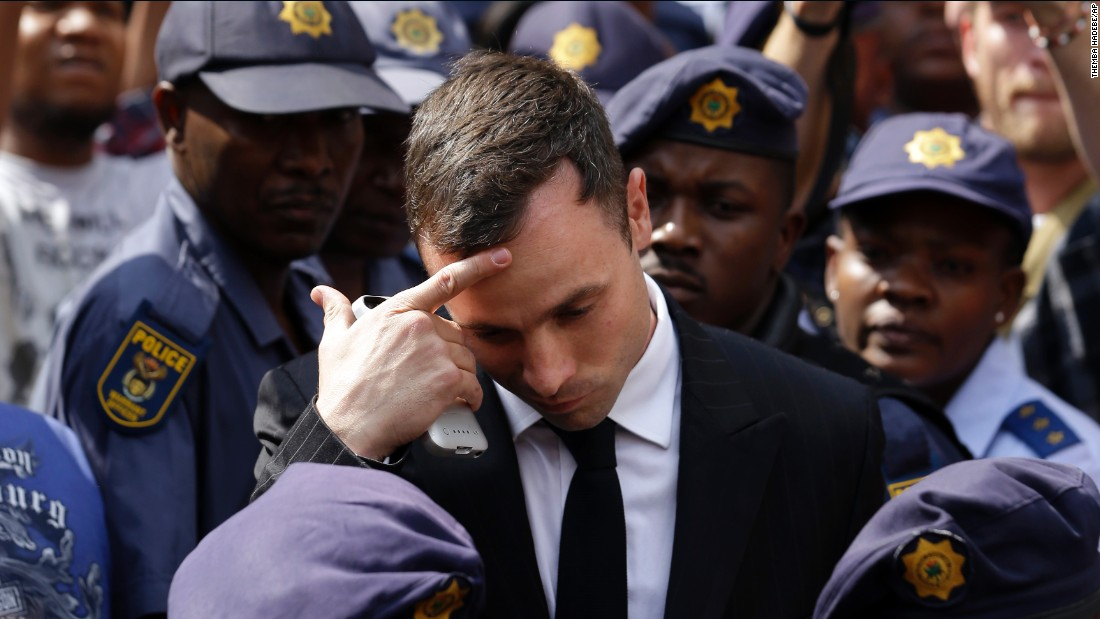 Pistorius leaves the high court in Pretoria on Monday, October 13. A judge cleared Pistorius of premeditated murder last month, but he was found guilty of culpable homicide -- the South African term for unintentionally, but unlawfully, killing a person.