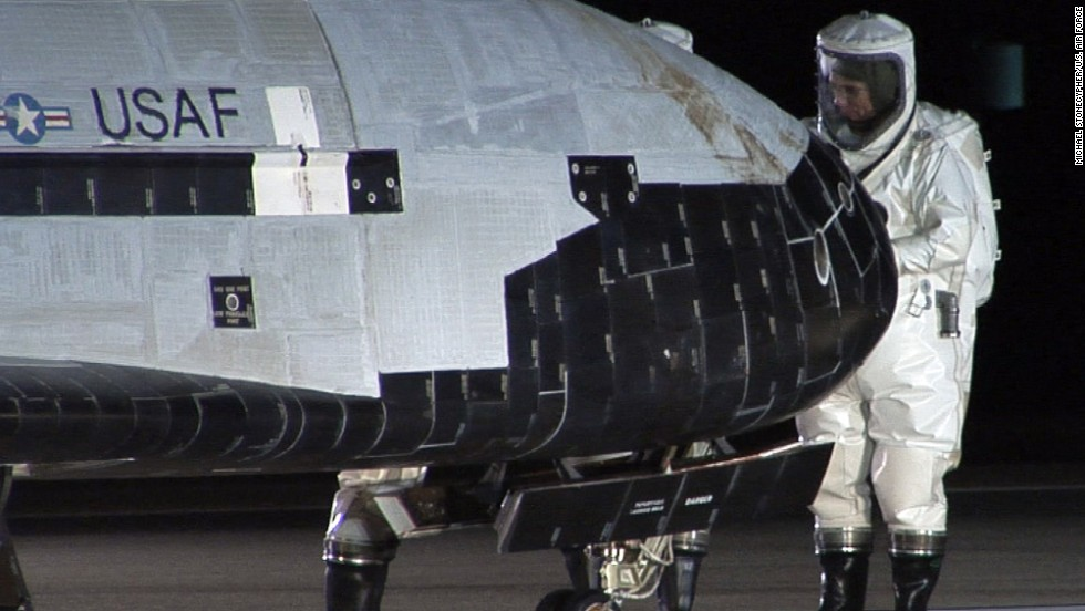 The X-37B Orbital Test Vehicle sits on the runway at Vandenberg Air Force Base on December 3, 2010, during post-landing operations.