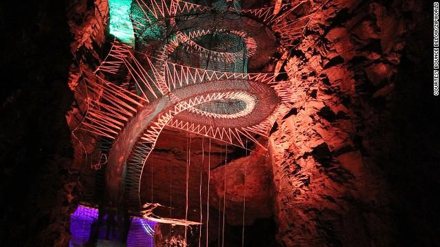 Zip Line Harness >> Deep thrills: Crazy cave trampolines in Wales - CNN.com