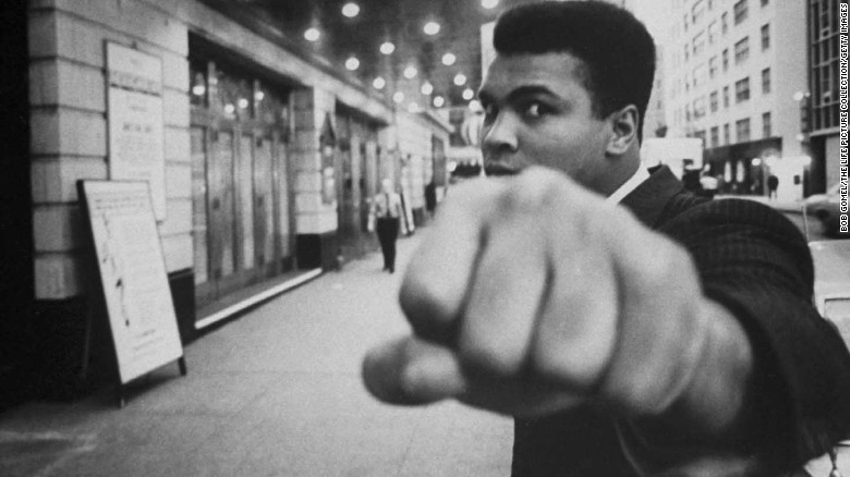 OCTOBER 1968 - NEW YORK: Boxing champion Muhammad Ali posing in front of the Alvin Theater where the play 'The Great White Hope' was playing. (Photo by Bob Gomel/The LIFE Picture Collection/Getty Images)