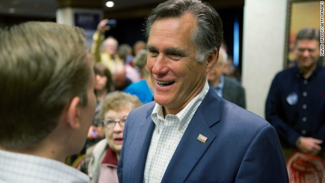CEDAR RAPIDS, IOWA - OCTOBER 13: Former Massachusetts Gov. and GOP presidential candidate Mitt Romney makes his way through supporters of Iowa Republican State Senator and U.S. Senate candidate Joni Ernst on October 11, 2014 in Cedar Rapids, Iowa. Ernst and Romney met with around 300 supporters at the event, one of many in the final weeks of Ernst#39;s campaign for a U.S. Senate seat. U.S. Representative Bruce Braley (D-IA) and Ernst are virtually tied in polling to replace the seat occupied by retiring U.S. Senator Tom Harkin (D-IA). (Photo by David Greedy/Getty Images)