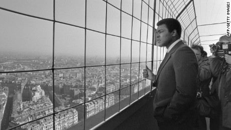 Ali visits the Eiffel Tower in Paris on March 5, 1976.