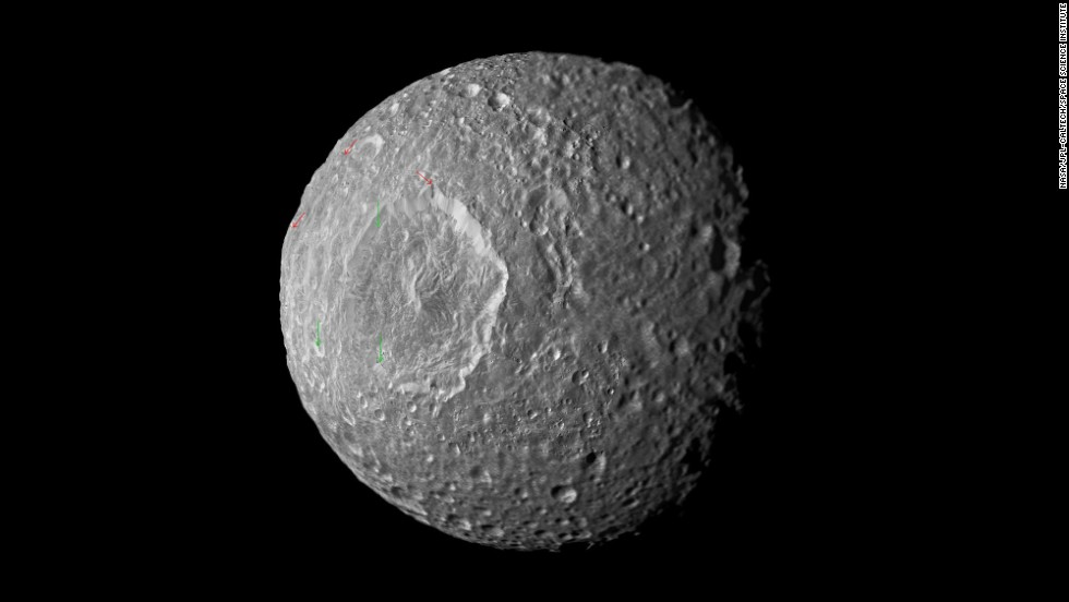 This mosaic of Saturn's moon Mimas was created from images taken by Cassini in February 2010. A recent study indicates the moon may contain a liquid water ocean.