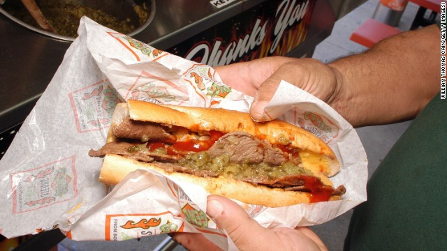 Classic Philly cheesesteak from Geno's Steak.