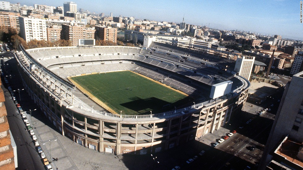 Pictured during the 1980s, the Santiago Bernabeu stadium reached a peak capacity of just over 120,000 in the 1950s -- although its record attendance, in 1956, was 129,690 for a European Cup semifinal against AC Milan.