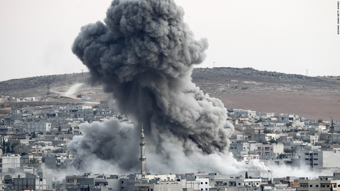 Heavy fume rises in Kobani following an airstrike by a U.S.-led bloc on Oct 18.