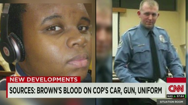Sources: Brown's blood on cop's car, uniform