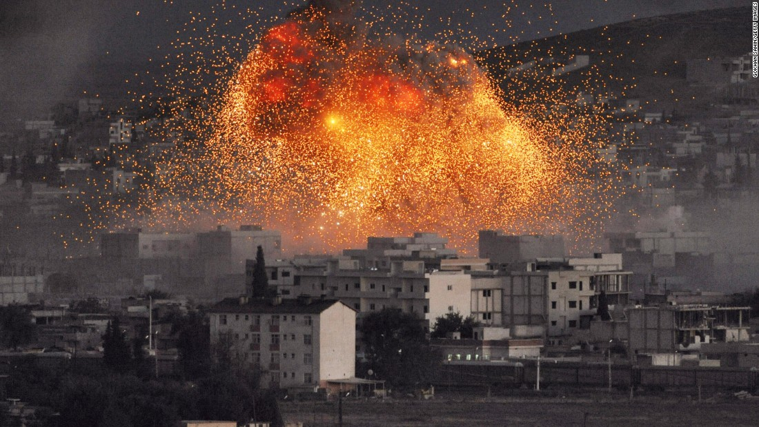 An blast rocks Kobani, Syria, during a reported automobile explosve dispute by ISIS militants on Tuesday, Oct 20.