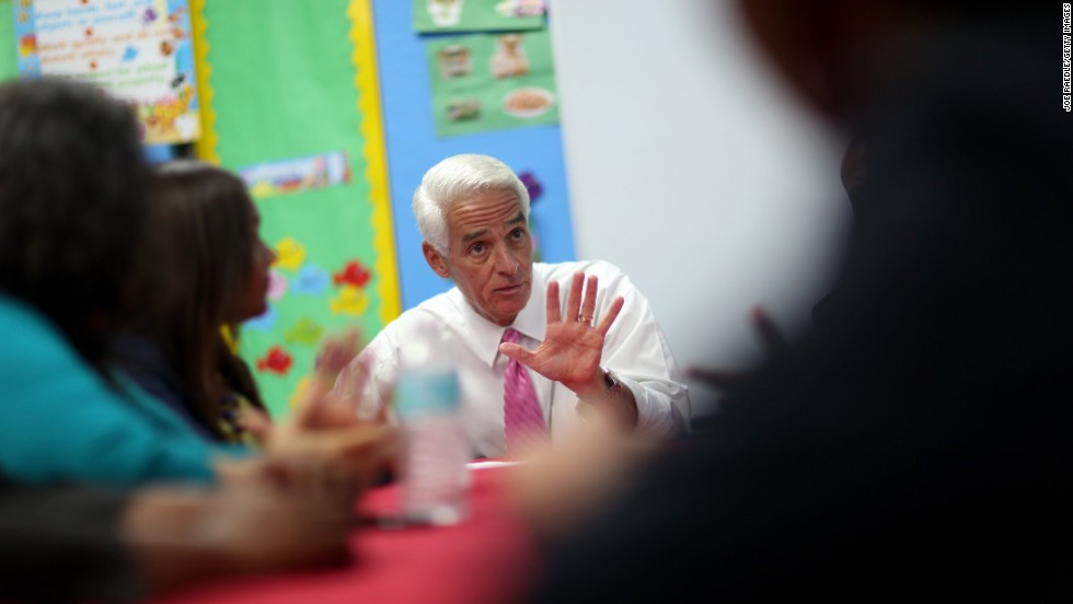 Crist meets with teachers and parents during a campaign stop in Pembroke Park, Florida, in September. Crist used to be a Republican, but he joined the Democratic Party in 2012.