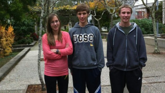 Kyle Nolan, right, pictured with his triplet sister Marion and triplet brother, Kevin.