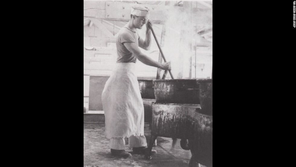 A worker for the Goelitz Confectionery Co. stirs a kettle of warm candy corn mixture at a New Jersey factory in the early 1900s. The company, which in 2001 changed its name to Jelly Belly, continues to make candy corn today -- by machine, of course.