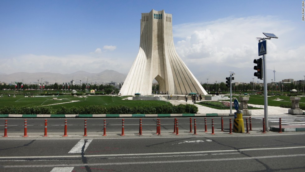 The tower in Azadi Square in Tehran, Iran, was built in 1971 in the shape of an upside-down Y.
