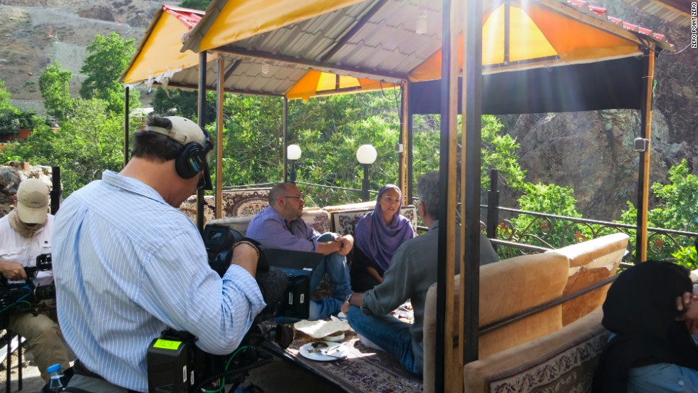 Bourdain sits down with journalists Jason Rezaian and his wife, Yeganeh Salehi, in the mountains of Darband.