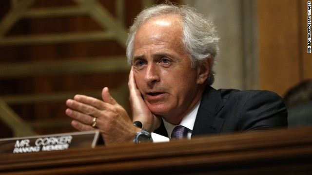 "WASHINGTON, DC - JULY 09:  Senate Foreign Relations Committee ranking member Sen. Bob Corker (R-TN) speaks during a hearing July 9, 2014 in Washington, DC. The committee heard testimony on the topic of ""Russia and Developments in Ukraine.""  (Photo by Win McNamee/Getty Images)"