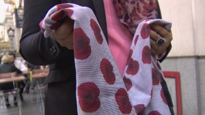 Controversy over poppy print headscarf