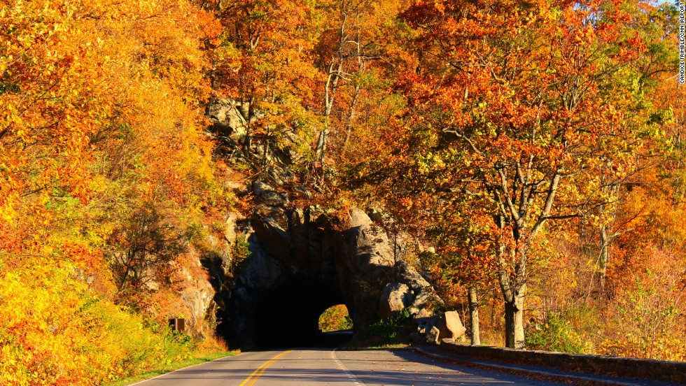 """Fall leaves frame a tunnel at <a href=""""http://ireport.cnn.com/docs/DOC-1182827"""">Skyline Drive </a>in Shenandoah National Park. This <a href=""""http://www.visitskylinedrive.org/Home.aspx"""" target=""""_blank"""">105-mile byway</a> makes its way along the Blue Ridge Mountains."""