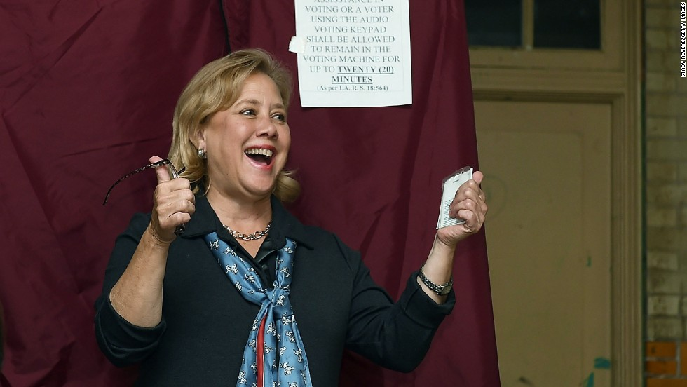Landrieu gives a thumbs up while voting November 4 in New Orleans.