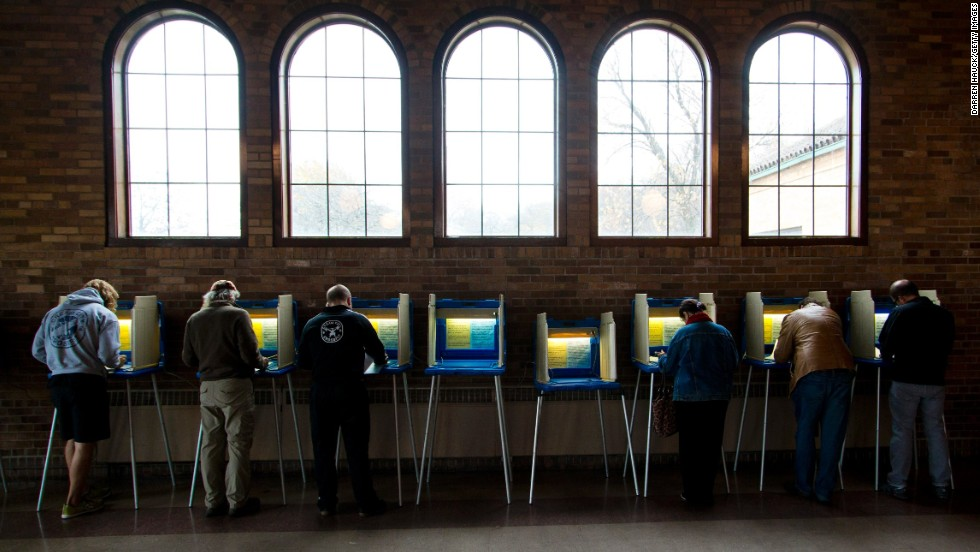 People cast their ballots at the South Shore Park building in Milwaukee.