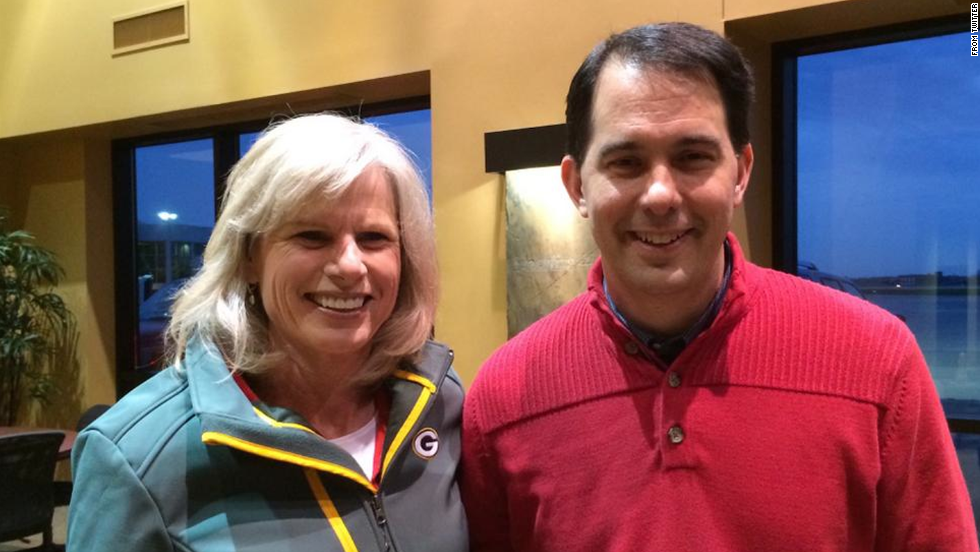 "Walker and Burke are seen together in this photo <a href=""https://twitter.com/Burke4WI/status/529407510638104576"" target=""_blank"">posted on Burke's Twitter account</a> Monday, November 3. ""What are the odds?"" Burke wrote."