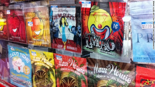 The DEA began cracking down on synthetic marijuana, sold in colorful packages with names like Cloud Nine, Maui Wowie and Mr. Nice Guy, in 2014