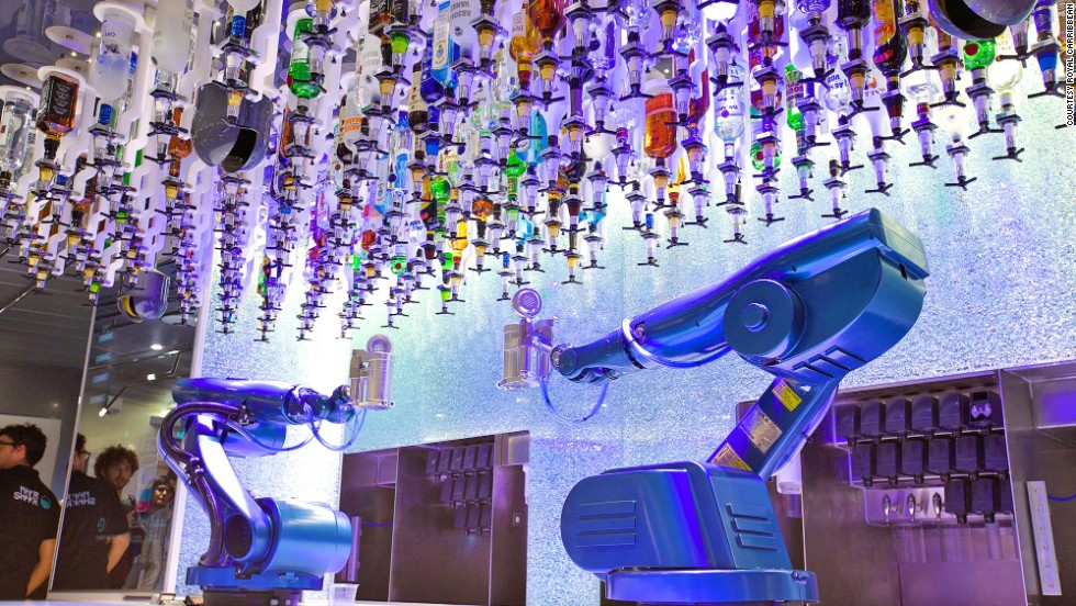 Robot bartenders are already at work, serving drinks on several Royal Caribbean cruise ships. The good news: no tips. The bad news: computer stats showing exactly how much you've drunk.