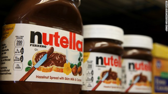 ars of Nutella are displayed on a shelf at a market on August 18, 2014 in San Francisco, California. The threat of a Nutella shortage is looming after a March frost in Turkey destroyed nearly 70 percent of the hazelnut crops, the main ingredient in the popular chocolate spread. Turkey is the largest producer of hazelnuts in the world.