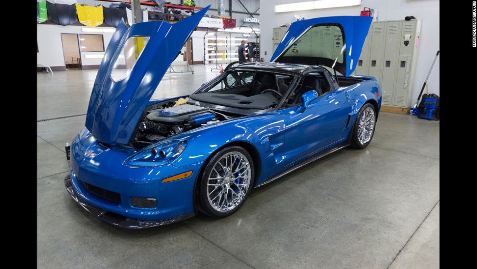 Hard to believe that this 2009 Blue Devil ZR1 was swallowed by a freak sinkhole at the National Corvette Museum back in February. The car was one of eight Corvettes that fell into the hole. Only this one and two others will be restored.