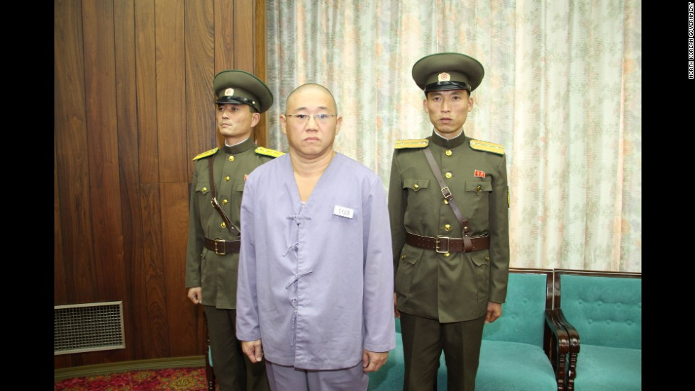 American Kenneth Bae is seen just before his release in Pyongyang, North Korea, on Saturday, November 8. Bae's sister, Terri Chung, told CNN that her family shed happy tears and spread the good news among relatives and friends. Relatives describe Bae as a devout Christian who arranged tours of North Korea.