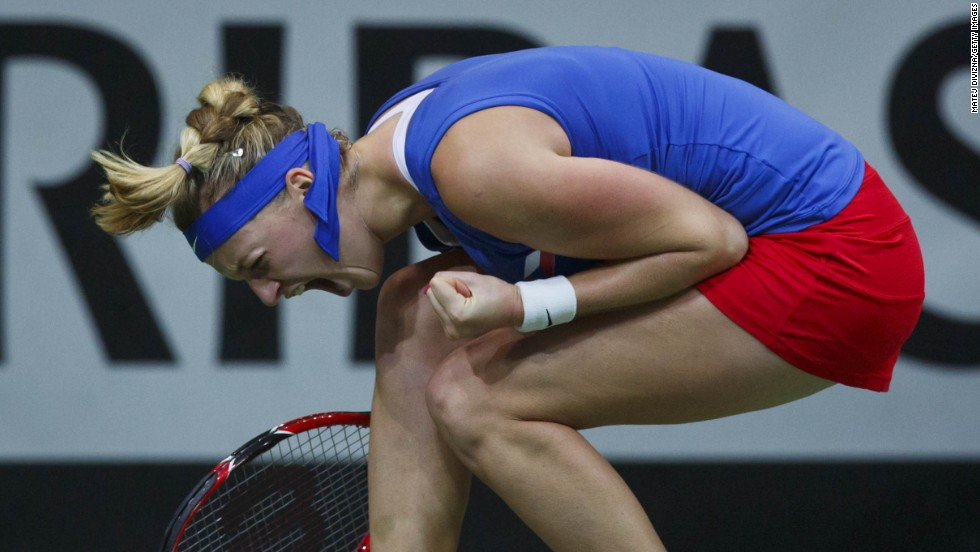 Petra Kvitova of the Czech Republic celebrates during the Fed Cup final match against Angelique Kerber of Germany at O2 Arena in Prague, Czech Republic, on Sunday, November 9. The Czech Republic claimed its third Fed Cup title in four years.