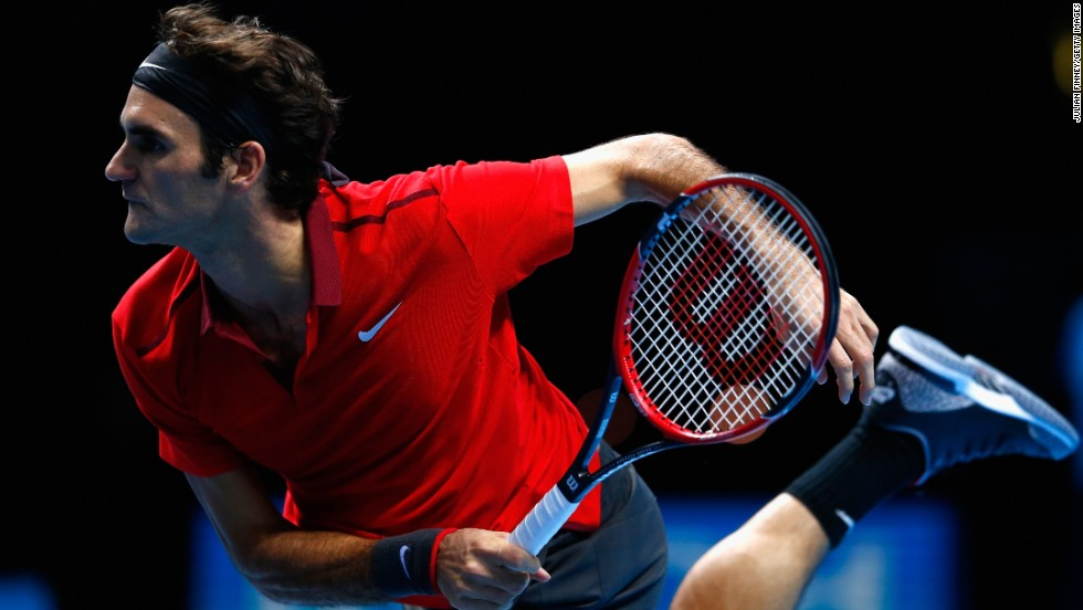 Roger Federer of Switzerland plays against Milos Raonic of Canada in the round robin on Day 1 of the Barclays ATP World Tour Finals at O2 Arena in London on Sunday, November 9. Federer beat Raonic 6-1, 7-6.