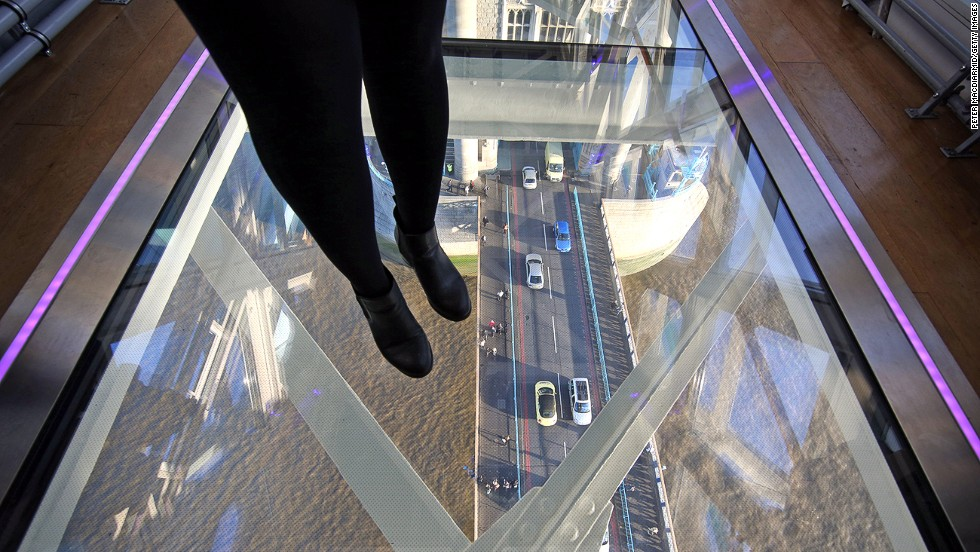 A glass floor installed high above London's Tower Bridge opened to the public in 2014. It created headlines shortly after when someone dropped a bottle, causing the upper layer of one of the glass panels to shatter.