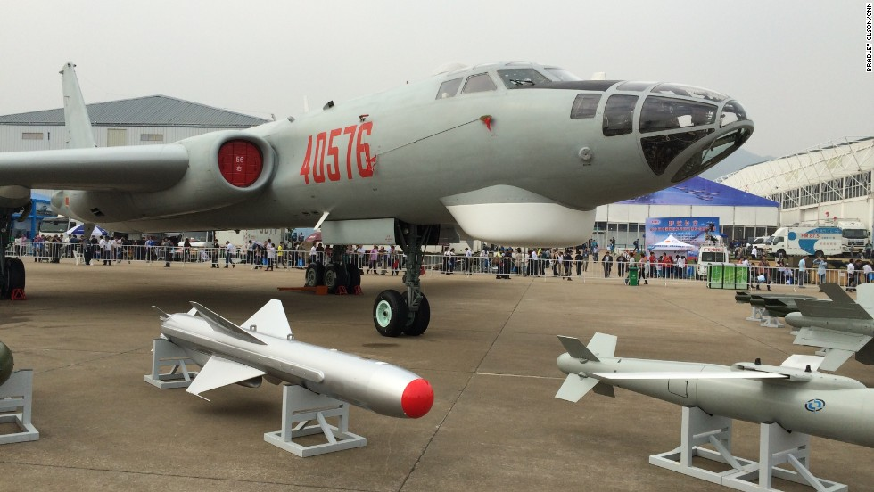 Chinese-made J-6 Bomber on display at Airshow China on Tuesday, November 11.