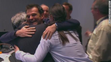 Rosetta team celebrates landing on comet