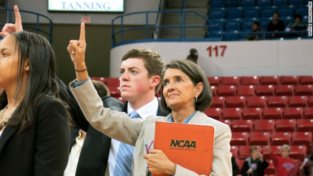 Tyler Summitt stands with his assistant Mickie DeMoss, who also served as his mother#39;s assistant coach for 18 seasons. He graduated cum laude from Webb, where he starred as a point guard.