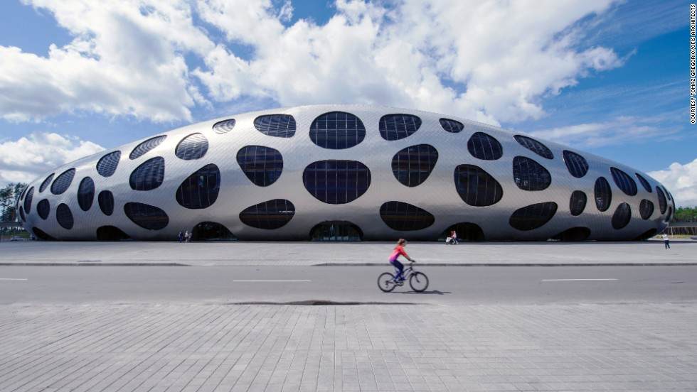 """Here, the distinctive """"spotty"""" Borisov Arena in Belarus is home to the country's football team. The space-age arena opened earlier this year and cost $37 million."""