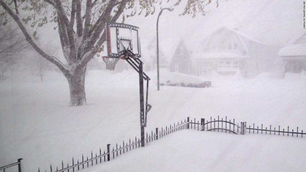 Heavy snow covers Buffalo on Tuesday, November 18.